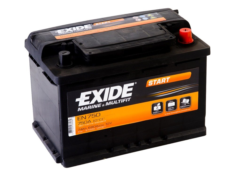 battery 12v 74ah exide start en750 akumulatory special. Black Bedroom Furniture Sets. Home Design Ideas