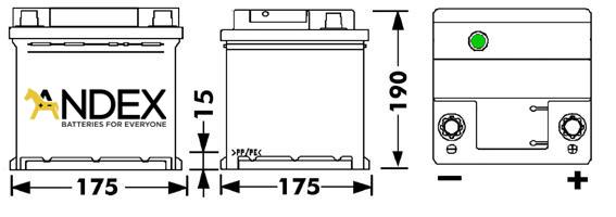 Wymiary akumulatora Centra Voltmaster 40Ah