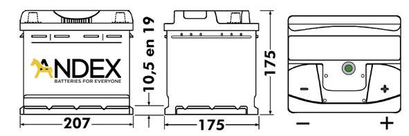 Wymiary akumulatora Centra Voltmaster 41Ah