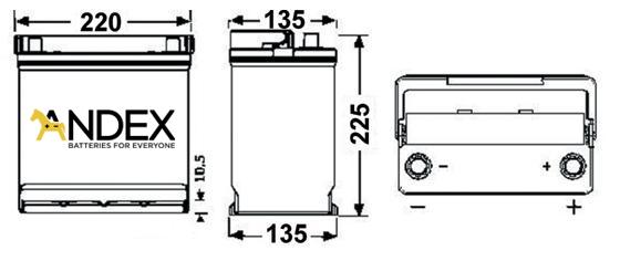 Wymiary akumulatora Centra Voltmaster 45Ah