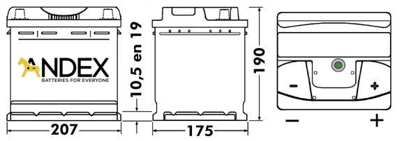Wymiary akumulatora Centra Voltmaster 44Ah
