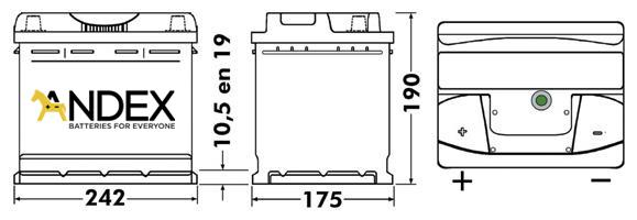 Wymiary akumulatora Centra Voltmaster 55Ah