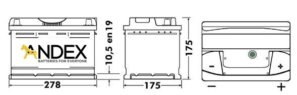 Wymiary akumulatora Centra Voltmaster 65Ah