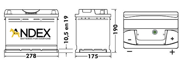 Wymiary akumulatora Centra Voltmaster 70Ah