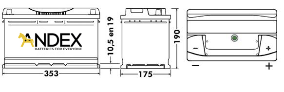 Wymiary akumulatora Centra Voltmaster 90Ah