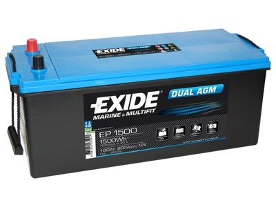 Battery 12V 180Ah EXIDE DUAL AGM EP1500
