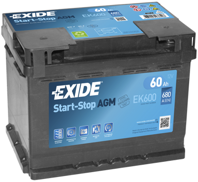 Battery 12V  60Ah EXIDE START-STOP AGM EK600