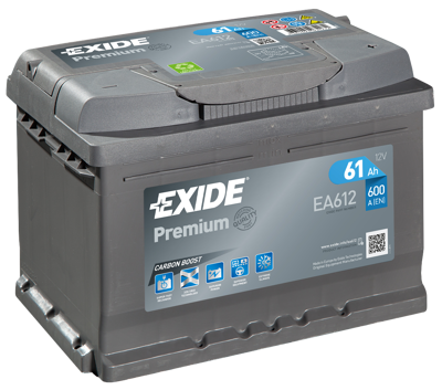 Battery 12V 61Ah EXIDE PREMIUM CARBON BOOST EA612