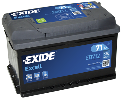 Battery 12V  71Ah EXIDE EXCELL EB712