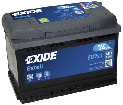 Battery 12V  74Ah EXIDE EXCELL EB740