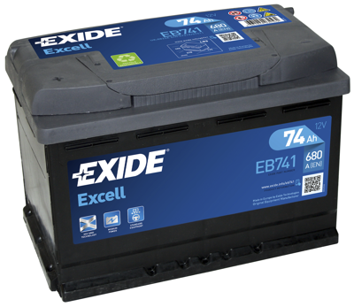 Battery 12V  74Ah EXIDE EXCELL EB741