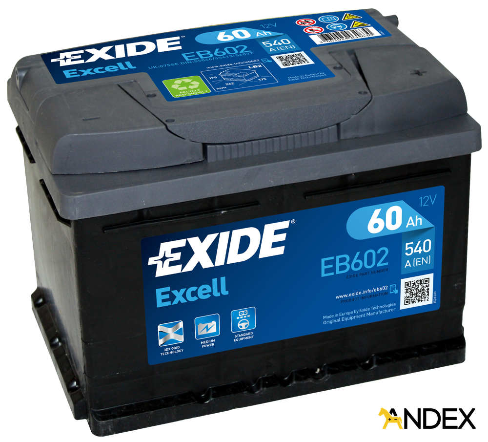battery 12v 60ah exide excell eb602 akumulatory car. Black Bedroom Furniture Sets. Home Design Ideas
