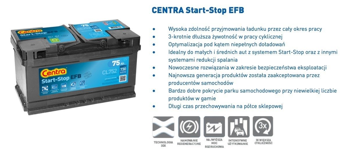 battery 12v 65ah centra start stop efb cl652 akumulatory car batteries centra centra. Black Bedroom Furniture Sets. Home Design Ideas