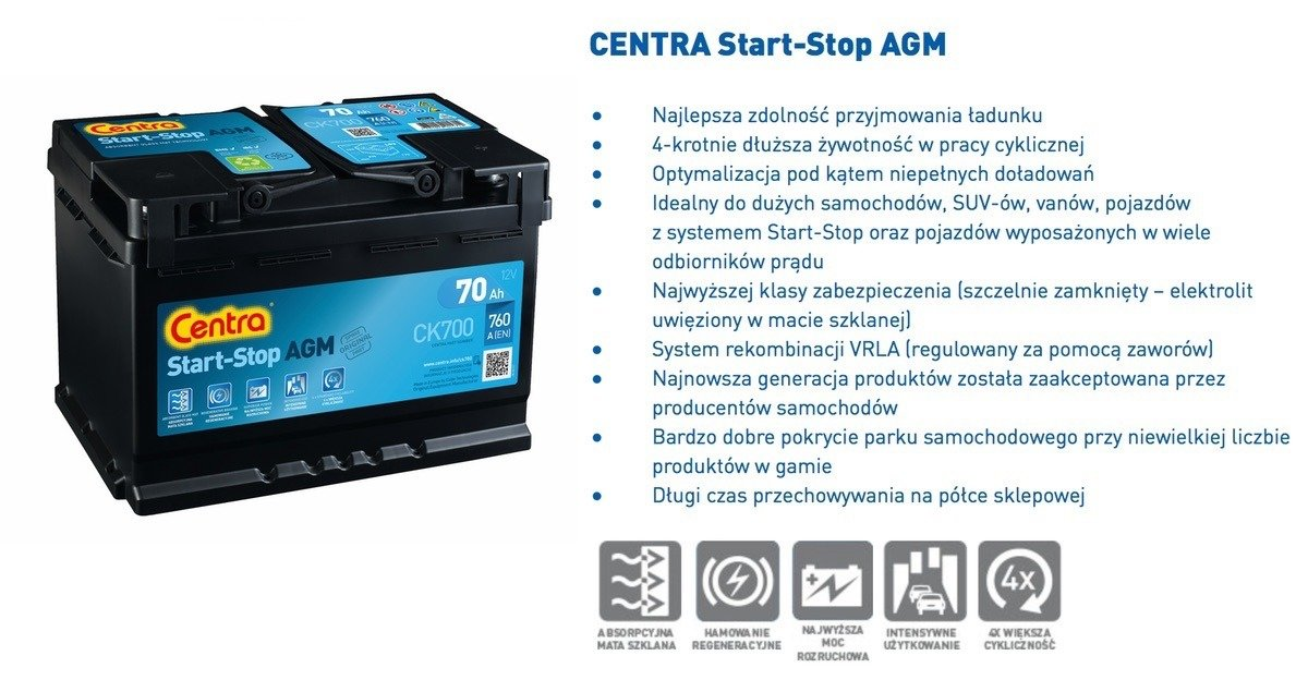 battery 12v 80ah centra start stop agm ck800 akumulatory. Black Bedroom Furniture Sets. Home Design Ideas
