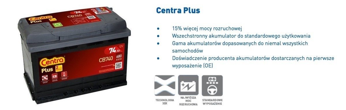Battery 12V  45Ah CENTRA PLUS CB457