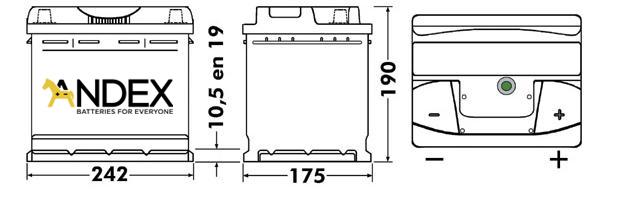 Wymiary akumulatora Centra Micro-Hybrid AGM CK600