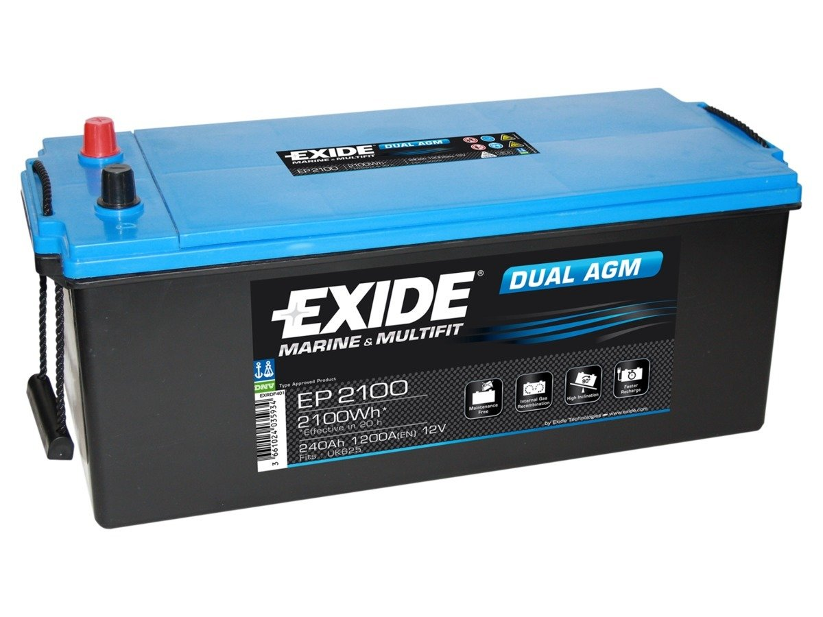 Battery 12V 240Ah EXIDE DUAL AGM EP2100