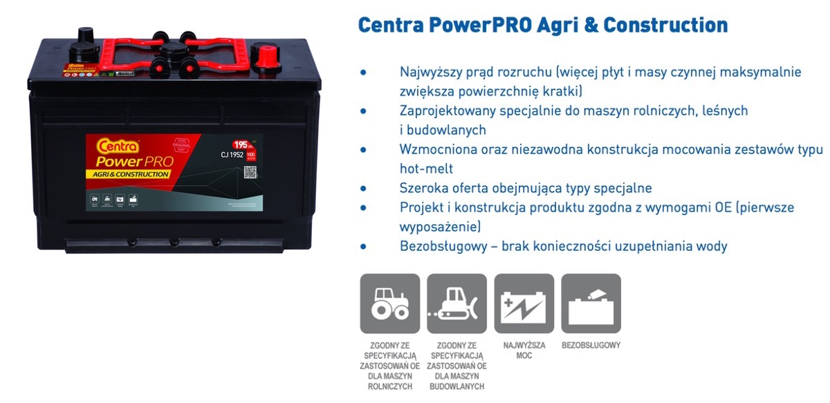 Akumulator  12V 110Ah CENTRA Power PRO AGRI&Construction CJ110B