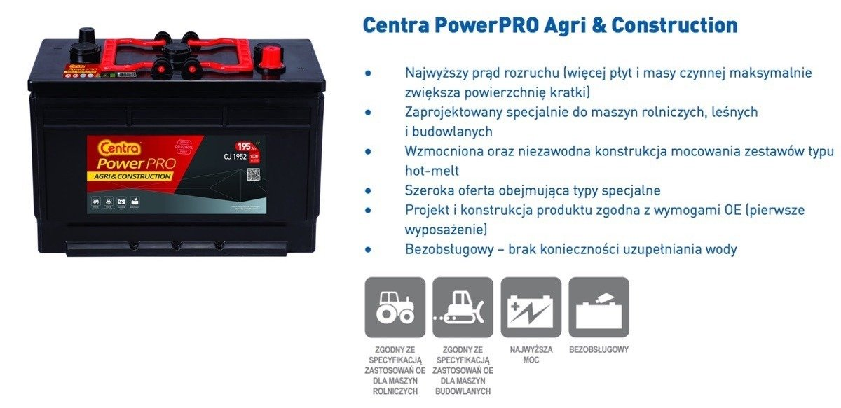 Akumulator  6V 195Ah CENTRA Power PRO AGRI CJ1952